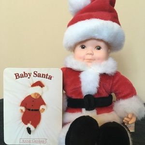 NWT Anne Geddes Doll Baby Santa Decoration 1999